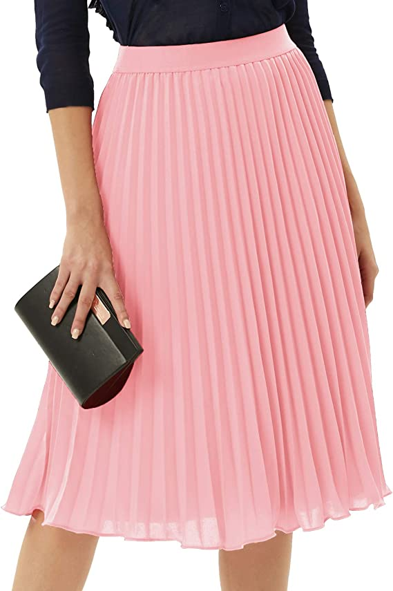 GRACE KARIN Women Chiffon High Waist Pleated Skirt Midi Swing A-line Skirts