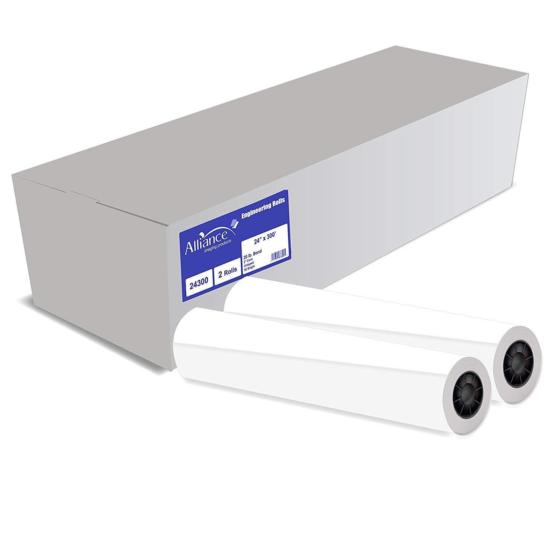 Alliance CAD Paper Rolls, 24'' x 300', 92 Bright, 20lb - 2 Rolls Per Carton - Ink Jet Bond Rolls with 2'' Core by Alliance