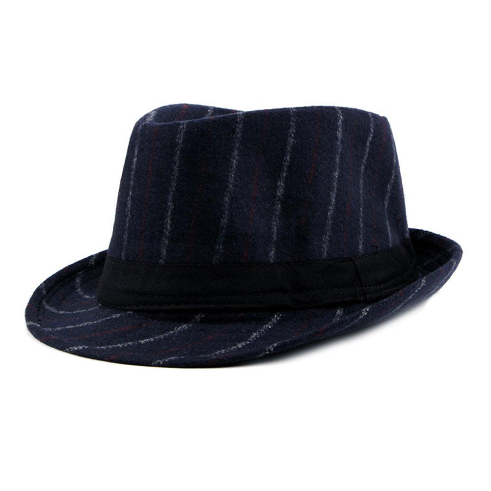 Fedora Hat Mens Boys Winter Trilby Hat Jazz Stripes Gentlemens Choice-Multicolor Dark Grey Doublebulls DH1584D
