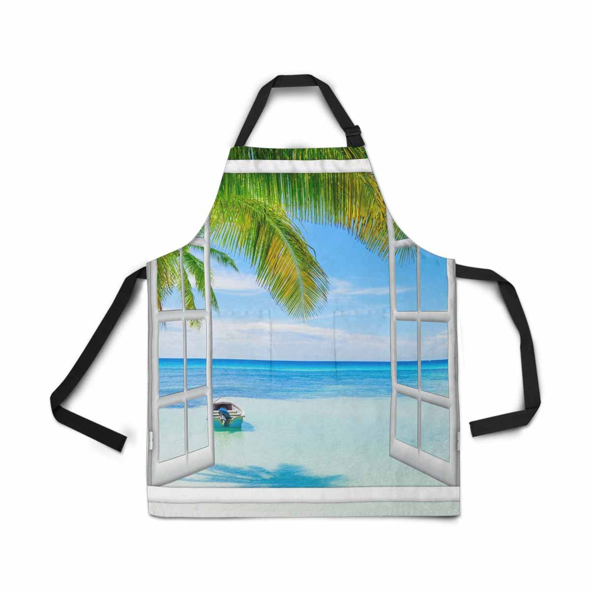 InterestPrint Adjustable Bib Apron for Women Men Girls Chef with Pockets, Open Window View Sea Good Weather Summer Novelty Kitchen Apron for Cooking Baking Gardening Pet Grooming Cleaning