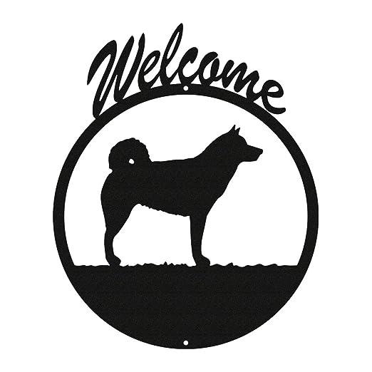 Alaskan Malamute negro Metal WELCOME SIGN ~ nuevo ~: Amazon.es: Jardín