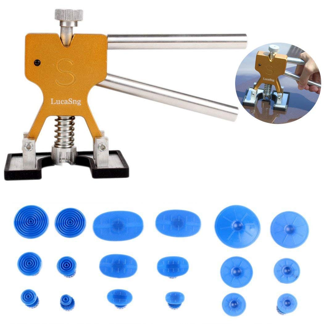 Auto Body Painless Dent Removal Dent Lifter Puller Repair with 18 pcs Suction Tab Tools Kits Gold