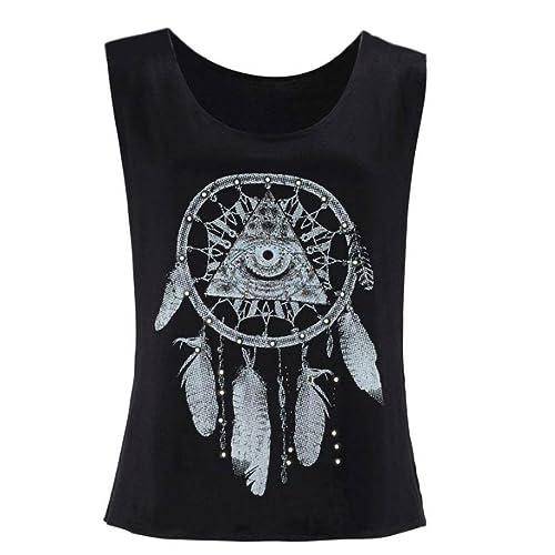 Rcool Mujeres Dreamcatcher Printed Sleeveless Tops Camiseta de la Camiseta del Chaleco del Tank Top