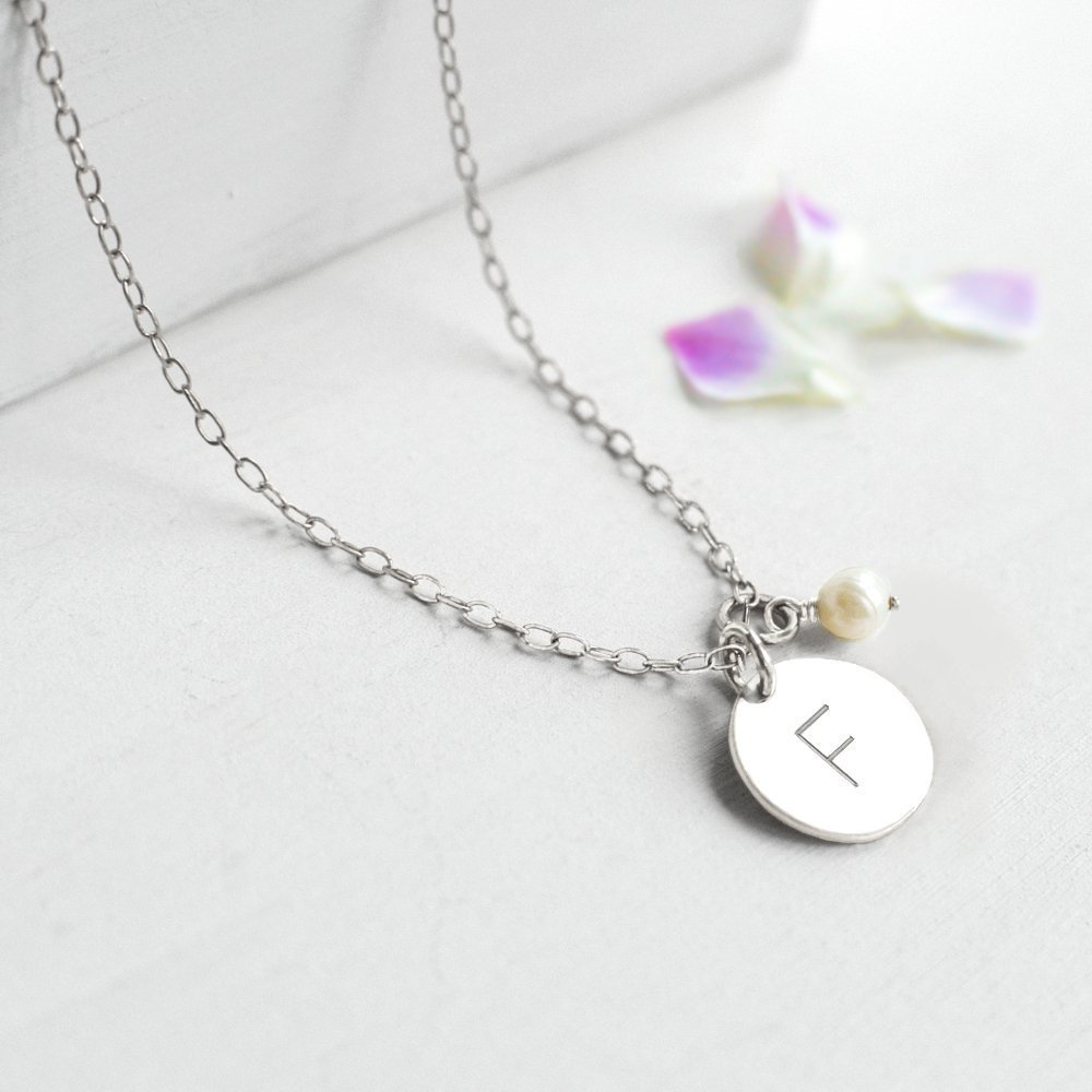 Personalised Sterling Silver Little Initial Disc and Freshwater Pearl Bridesmaid Necklace