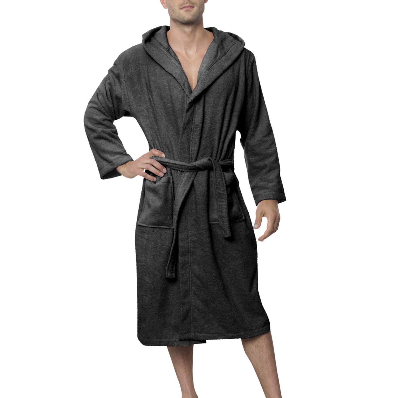Twinzen Bata Baño para Hombre con Capucha - Albornoz 100% Algodón Certificado Oeko Tex -