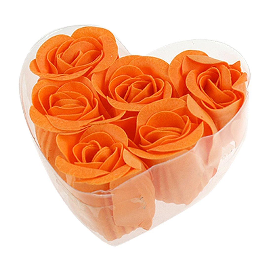 6 pi ces p tales de savon roses fleurs parfum bain savon p tales orange bo te en forme de c ur. Black Bedroom Furniture Sets. Home Design Ideas