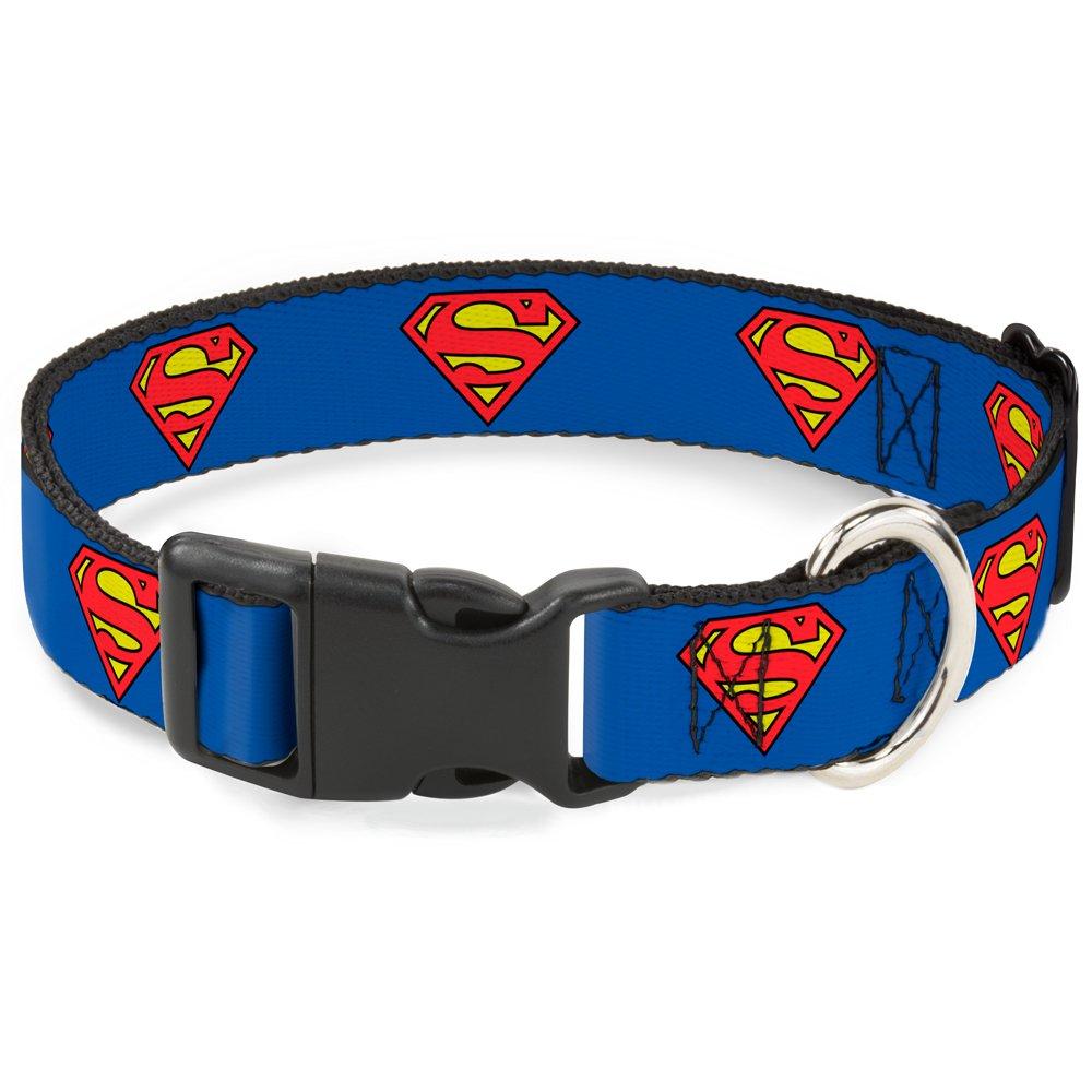 Superman Shield bluee 1\ Superman Shield bluee 1\ Buckle Down Plastic Clip Collar Superman Shield bluee 1  Wide Fits 11-17  Neck Medium