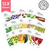 Facial Mask Glowing Skin - The Face Shop Facial Mask Sheets (15 Treatments), Real Nature Full Face Masks Peel Off Disposable Sheet (Pack of 15)
