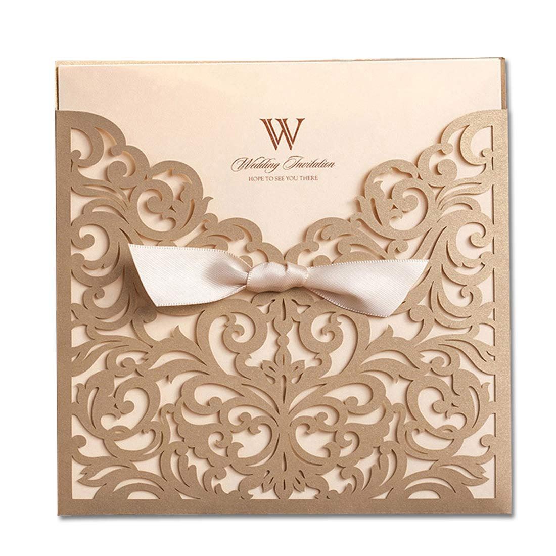Amazon Wishmade Square Gold Laser Cut Wedding Invitations With Lace Bow Hollow Favors Invitation For Engagement Marriage Bridal Shower Birthday Card: Elgant Ivory Silver Bling Wedding Invitations At Reisefeber.org