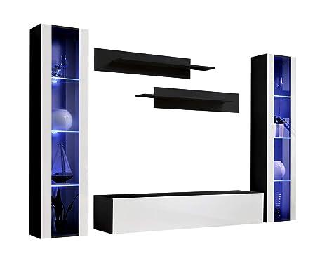 Conjunto Muebles de salón Nora Negro Blanco Modelo B2 con ...