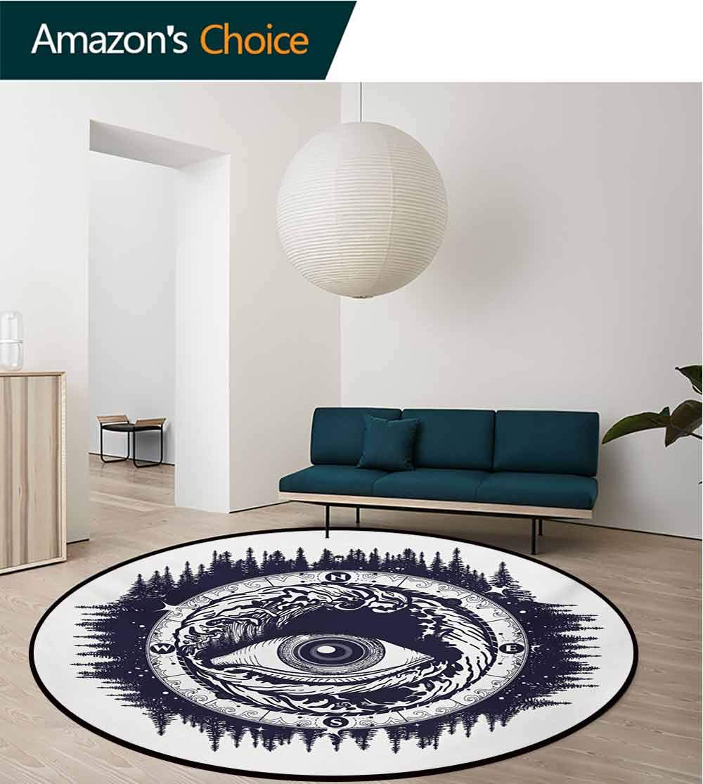Compass Modern Flannel Microfiber Non-Slip Machine Round Area Rug,Seeing Eye Compass with Directions Spirituality Religion Occultism Art Floor Mat Home Decor,Diameter-59 Inch