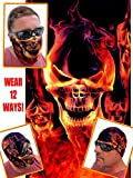 12-in-1 Headband - RED Skull Flame - Versatile Sports & Casual Headwear - Wear as a Bandana, Neck Gaiter, Balaclava, Helmet Liner, Mask - High Performance Microfiber