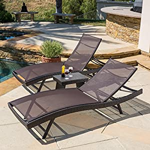 Eliana Outdoor 3pc Brown Mesh Chaise Lounge Chairs Set