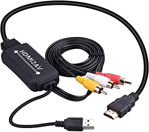 HDMI to RCA Converter, HDMI to RCA Cable Adapter, 1080P HDMI to AV 3RCA CVBs Composite Video Audio Supports NTSC for PC, Laptop, HDTV, DVD, VHC VCR
