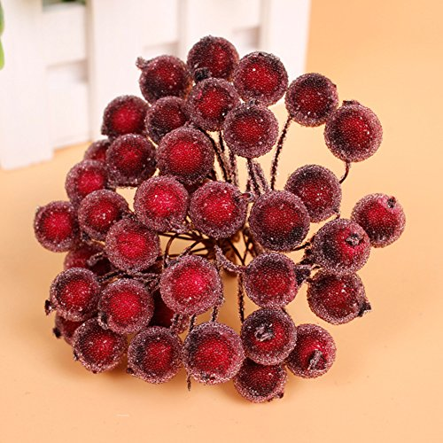 Fashionclubs Christmas Tree Artificial Fruit Holly Berry Pick On Wire Stems for Embellishing Crafting and Decorating Pack of 20 (Wine Red)