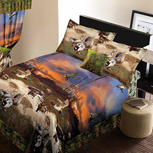 Wildlife Ducks (Duck Marsh 8pc King Size Comforter and Sheet Set (Bed in a)