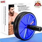 Arltb Ab Wheel Roller (5 colors) with Free Knee Mat and Anti-Slip Handles and Storage Box Perfect Abdominal Core Carver Fitness Workout for Abs Exercise and Strengthen Your Abs and Core (Blue-)