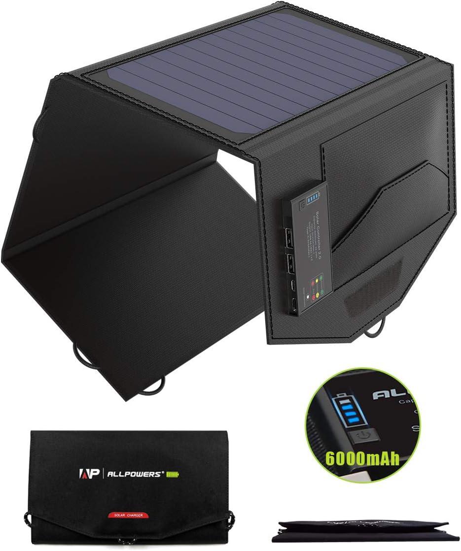 ALLPOWERS Cargador Panel Solar 15W 6000mAh Dual USB y USB-C Puertos Placa Batería Plegable para Móviles, Tablets y Otros Dispositivos