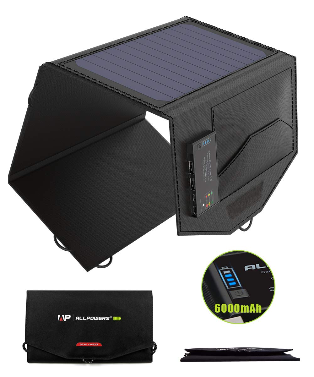 ALLPOWERS 15W Solar Charger with 6000mAh Battery, 3 USB Output, Exclusive Solar Battery Controller, SunPower Panel, Solar Panel Power Bank for Cell Phone, iPhone,Camping by ALLPOWERS