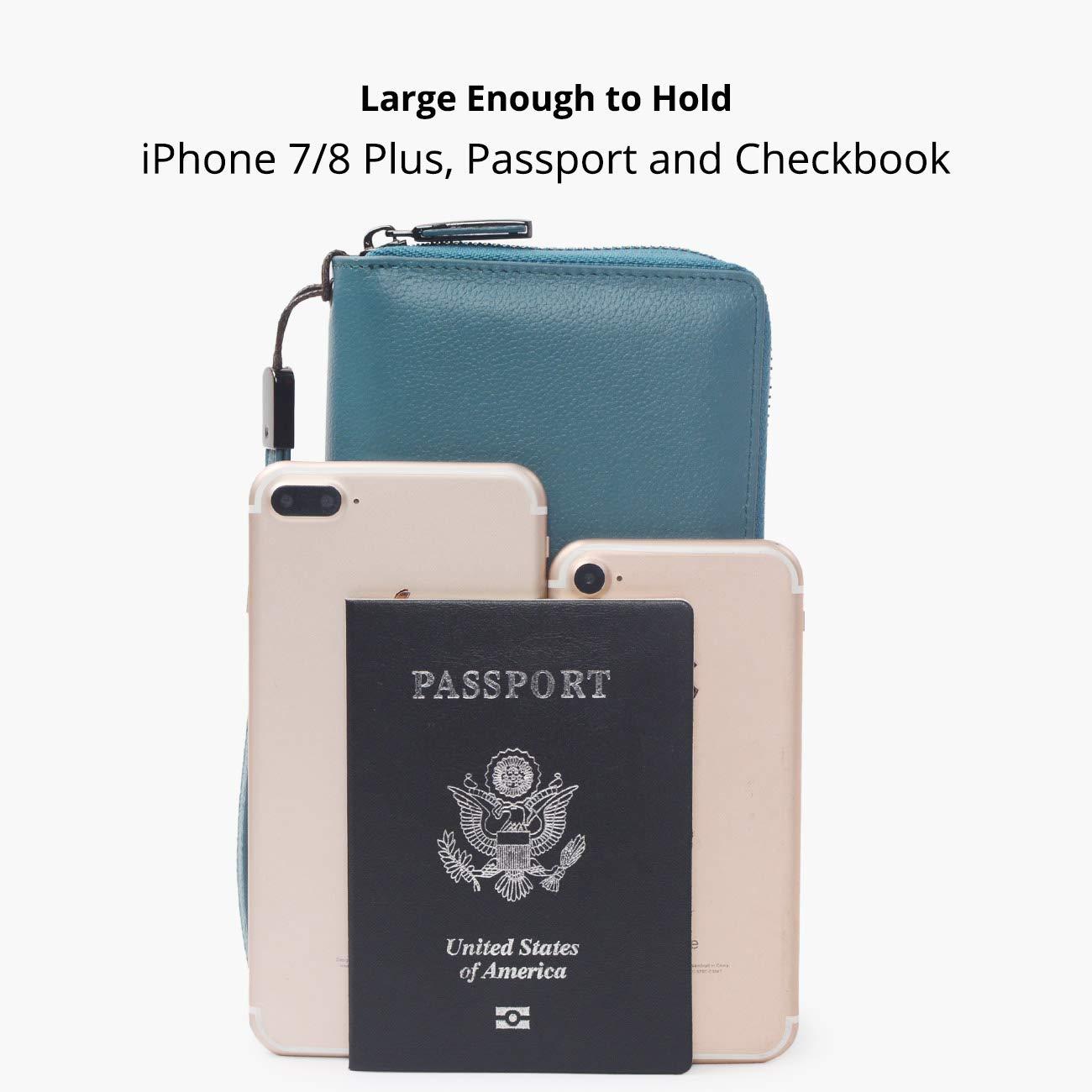 Women RFID Blocking Wallet Leather Zip Around Phone Clutch Large Travel Purse Wristlet (Lake Blue) by Bveyzi (Image #5)