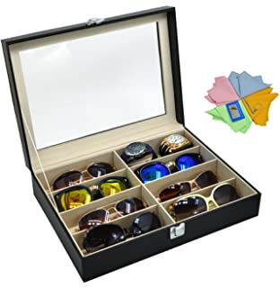ADTL 3 Gifts For Free Black Leather Box 8 Slots For Eyeglass Sunglass  Glasses Display Case