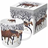 Paperproducts Design Gift Boxed Porcelain Mug, 13.5 oz, Winter Woods Horses, Multicolor