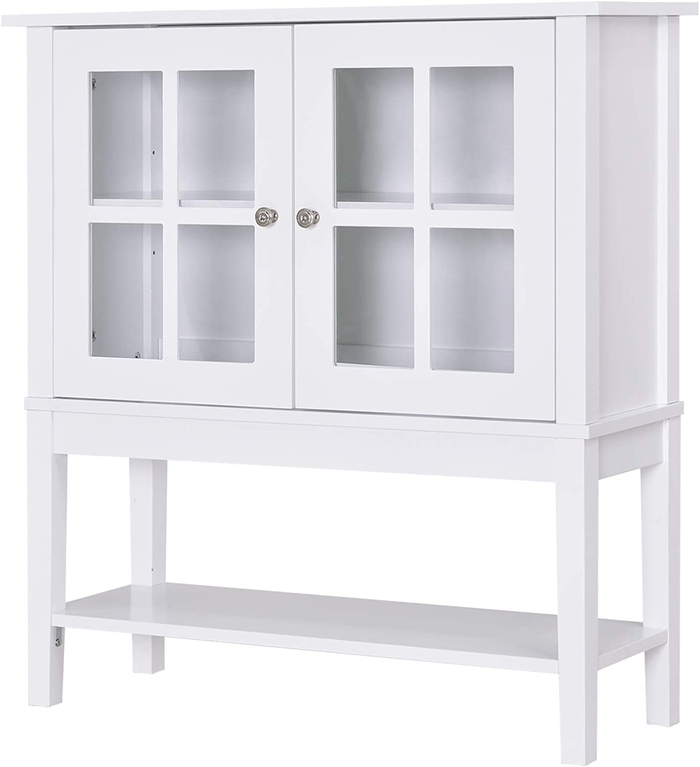 HOMCOM Modern Kitchen Credenza & Sideboard Buffet Table Storage Cabinet with 2 Swinging Glass Doors & Ample Storage Space, White