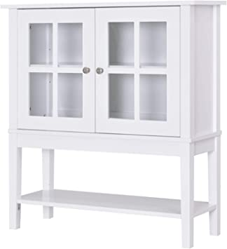 Amazon Com Homcom Kitchen Credenza Sideboard Buffet Storage Cabinet With 2 Swinging Glass Doors Ample Storage Space White Buffets Sideboards