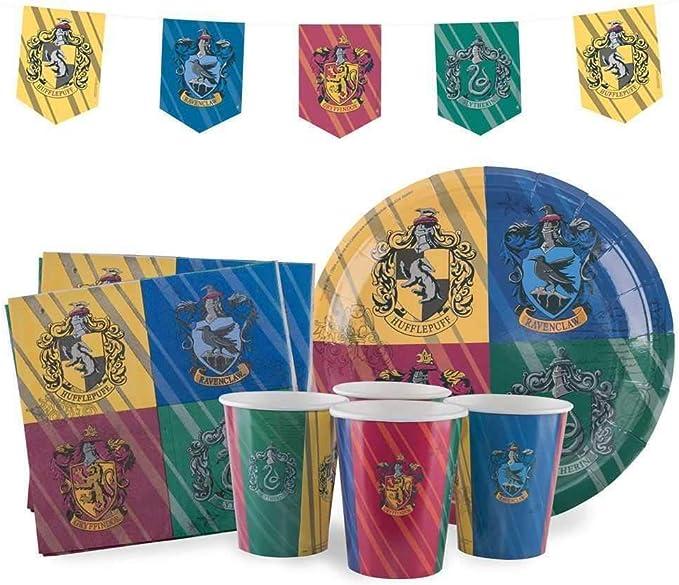 Set per Feste di Compleanno de Harry Potter con 8 Platos, 8 Vasos, 20 servilletas, 1 Pancarta - Oficial - Classic