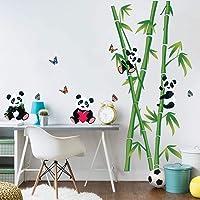decalmile Naklejki ścienne Miś Panda i bambus Tatuaż ścienny Dziecięcy Dekoracje ścienna z listwą przypodłogową Pokój…