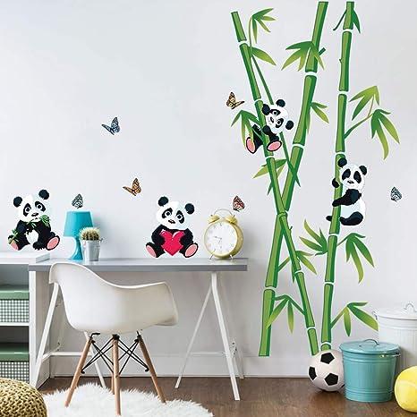decalmile Stickers Muraux Panda et Bambou Autocollant Décoratifs Chambre  Bébé Décoration Murale Chambre Enfant Garderie Salon
