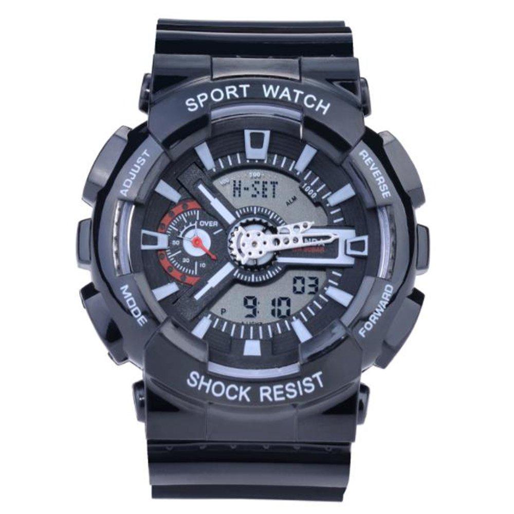 Sanda Teens Youth Sports Watch Waterproof Shock Resist Dual Time Analog Digital Light Wristwatch - Black