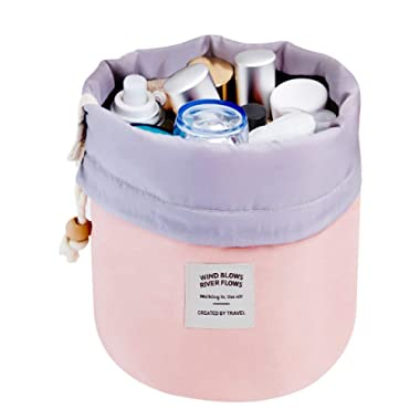 Mermaid Travel Cosmetic Bag Travel Makeup Bag Organizer Women Girls Barrel Shaped Hanging Toiletry Wash Bags Drawstring Makeup Storage Bag + Small Pouch+ Clear PVC Brush Bag (Pink)