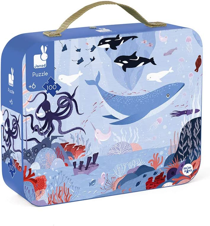 Janod 100 Piece Arctic Ocean Floor Puzzle Toy – Mini Suitcase for Organized Storage – Store Everything Inside and Transport Everywhere – Cognitive Development – Ages 6+ (J02673)
