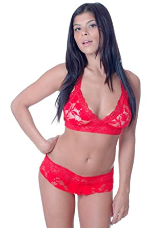 7fd14997231 Women s Plus Size Stretch Lace Bralette and Thong Set  1087X (3X 4X ...