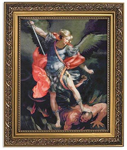 Gerffert Collection Saint Michael The Archangel Catholic Framed Portrait Print, 13 Inch (Orante Gold Tone Finish Frame) ()