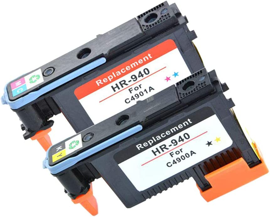 Compatible HP940 C4900A C4901A Printhead for HP Officejet K8000 K8500 Printer by Getu Office, 2-Pack (BK/Y+C/M)