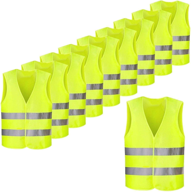 Femor Chaleco de Seguridad Reflectante de Alta Visibilidad XXXL Multifuncional Resistente 63 x 58 cm Color Amarillo (10/20/50 unidades)