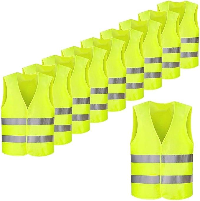 Femor Warnwesten 50 Stück Auto Gelb 360 Grad Reflektierende Sicherheitswesten Pannenwesten Für Erwachsene Fahrrad Waschbar Knitterfrei 70x 48cm Bekleidung