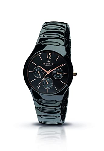 5ae5e3833 Accurist Gents Multi Dial Black Ceramic Case and Bracelet Watch MB990B