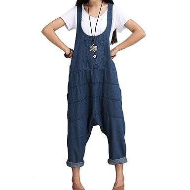 Juqilu Mujer Chicas Peto Vaquero Largo Pantalones Harem ...