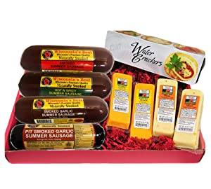 Mancave Ultimate Men's Cheese & Sausage Gift Basket - features Summer Sausages, 100% Wisconsin Cheddar Cheese, Pepper Jack Cheese | Great Birthday Gift Baskets to Send! with Amazon Prime.