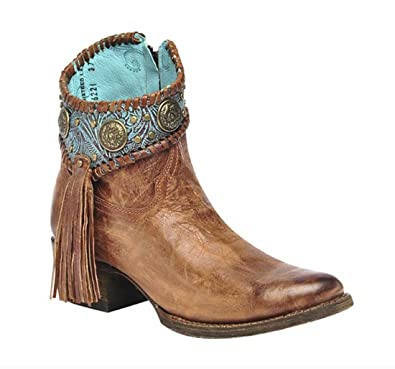 Corral Women's Cognac-Turquoise Concho Ankle Boots A3196