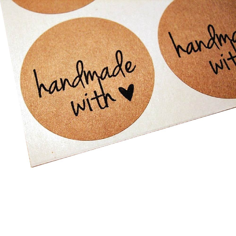 Handmade with Love Labels for Canning Jars, Mason Jar Gifts and Favors, by Once Upon Supplies, Kraft Round Stickers, 2.5'' Size for Wide Mouth Jars, 36 Pcs