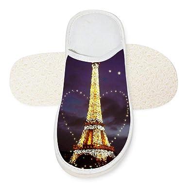 Amazon com: Slippers Shining Eiffel Tower La Tour Eiffel 3D Soft