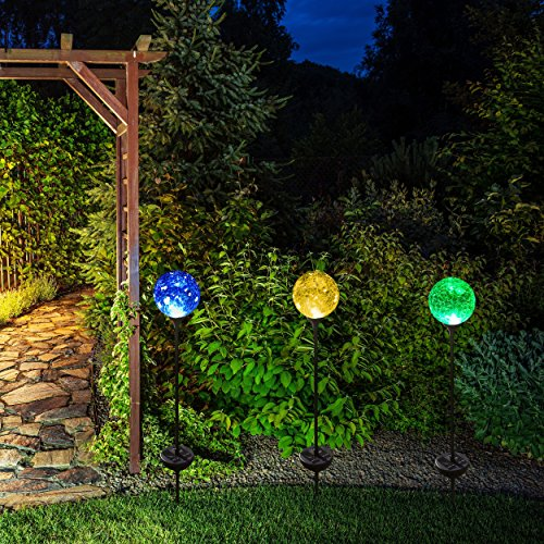 Solar powered crackle glass ball 7 color changing stake lights set of 3 weatherproof design for Solar garden stakes color changing