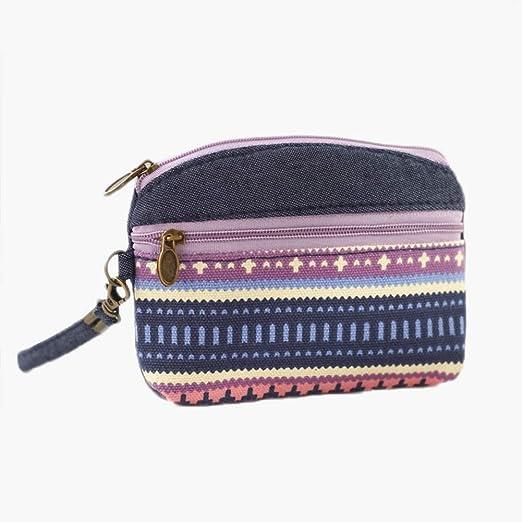 Oyfel Mini Coin Pouch Bags Small Change Purse Men Women Coin Wallet Mini Bag Makeup Pouch Ethnic Style Print 13.5x2x11cm