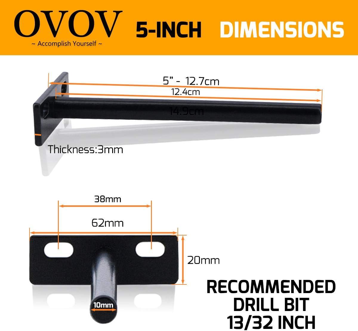 6 Pcs Heavy Duty Hidden Shelf Brackets for Wooden Floating Shelves 5-Inch Solid Steel Floating Shelf Brackets