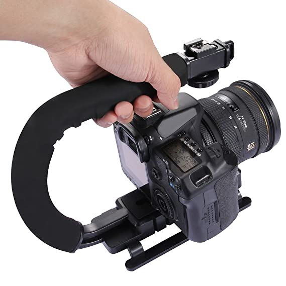 Review C-Shaped Camera Bracket, PULUZ Plastic U Shape Handle Stabilizer Grip Stabilizing Steadicam Low Position Shooting System with Cold Shoe for DSLR SLR Point and Shoot Cameras & Video Camcorders DC