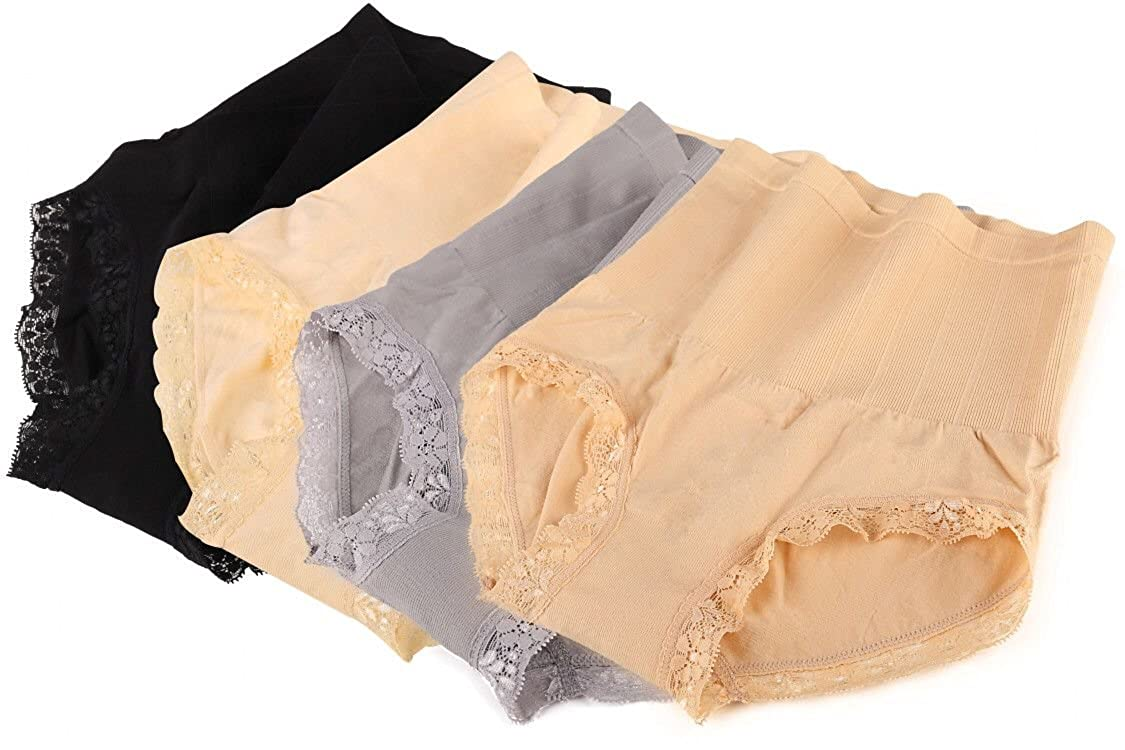 4-Pairs Lace Fashion Soft Cotton High Waist Stomach Clinching Womens Panties
